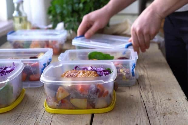 Storing food - plastic boxes with prepared meals - Meal Prep